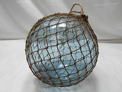 """Glass Fishing Float 9.5"""" in FINE ROPE NET Vintage Japanese Nautical Maritime"""