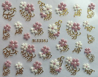 Nail Art 3D Decal Stickers White & Pink Flowers Gold or Silver Accents BLE334J