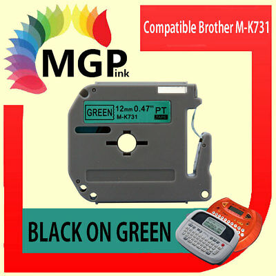 1x Compatible P-Touch MK Tape for Brother M-K731 Black on Green PT-55 PT-65