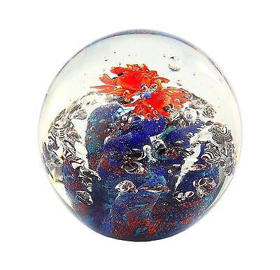 "New 5"" Hand Blown Art Glass Aquarium Paperweight Sculpture Figurine Ball"
