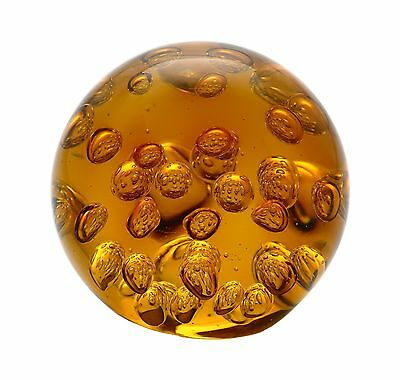 "New 4"" Hand Blown Art Glass Ball Paperweight Sculpture Bubble Amber"
