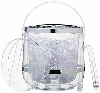 KitchenCraft Double Walled Clear Insulated Acrylic Ice Bucket, Lid & Tongs Set