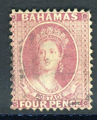 BAHAMAS 1882 4d Rose.  A fine used, Perf 12 example Sg 41
