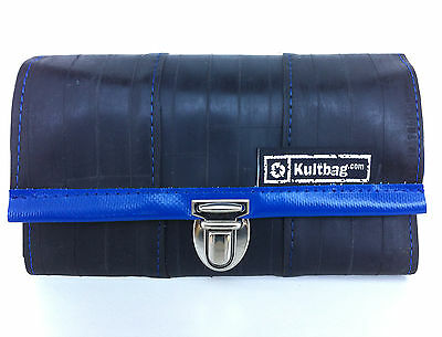 Kultbag Portemonai / Geldbörse, schwarz/blau, recycled, stylish, upcycling