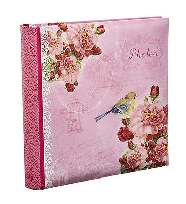 "2XPink Vintage Birds Memo Slip In Photo Album For 200 Photos 4'' x 6"" -PK200-2PK"