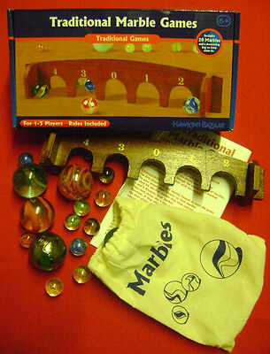 New Traditional Marbles Game Set. 20 Marbles In Drawstring Bag & Wooden Arches.