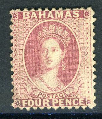 BAHAMAS 1882 4d Rose.  A lightly mounted mint, Perf 12 example Sg 41