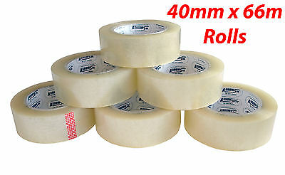 """STRONG CLEAR PARCEL PACKING TAPE HUGE 66m x 40mm BUFF BROWN ROLLS 1.5"""""""