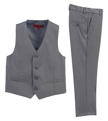 Boys Formal Wear 2 Piece Vest Pants Set Gray Fashion Wedding Party Kids 5 7 8 12