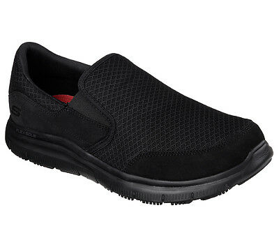 77048 Black Skechers shoe Work New Men Sporty Comfort Mesh Slipon Slip Resistant