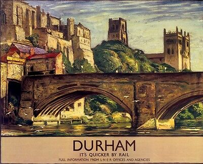 Vintage Railway Advertising  rail travel poster  A4 RE PRINT Durham