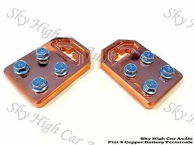 Pair of Copper Sky High Any GA (4) Spot Flat BATTERY TERMINALS BOLT USE ONLY