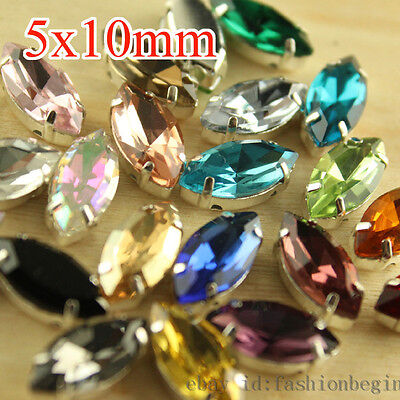 50pcs Rhinestone 5x10mm Sew On Crystal Faceted foiled glass Navette Jewels y-pk