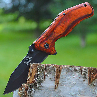 "7"" ELK RIDGE Wood Gentleman SPRING ASSISTED OPEN Hunting Folding POCKET KNIFE"