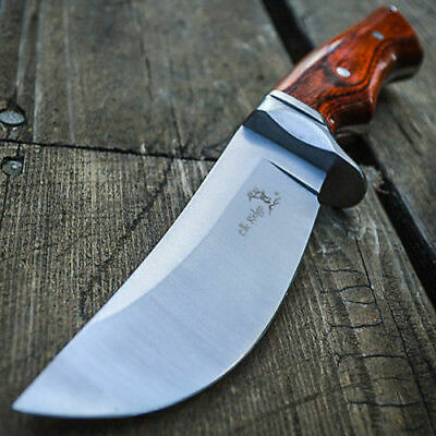 "9"" Full Tang Wood Fixed Blade Knife Hunting Skinning Survival Army Bowie"