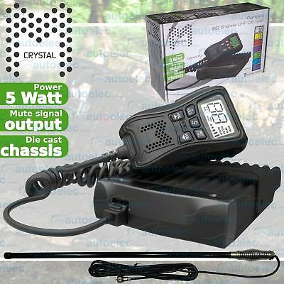 Crystal Db477D Uhf Cb Radio + Ch5T Antenna Mobile Remote Speaker Microphone