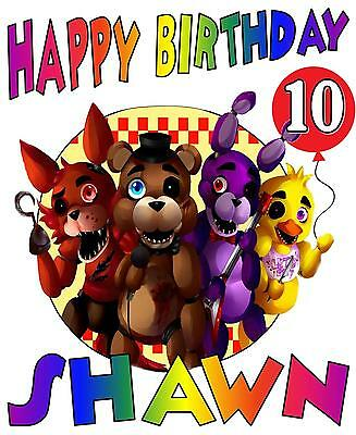 FIVE NIGHTS AT FREDDY'S BIRTHDAY Party T-SHIRT Personalized Any Name/Age