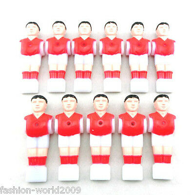 11pcs Red Foosball Man Football Table Soccer Player Replacement Parts Indoor