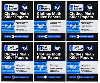 Clothes Moth Killer Strips Papers from Pest Expert (pack of 10) X6