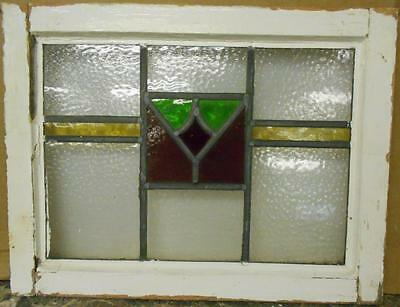 "OLD ENGLISH LEADED STAINED GLASS WINDOW Nice Geometric Band Design 21.5"" x 16.5"""