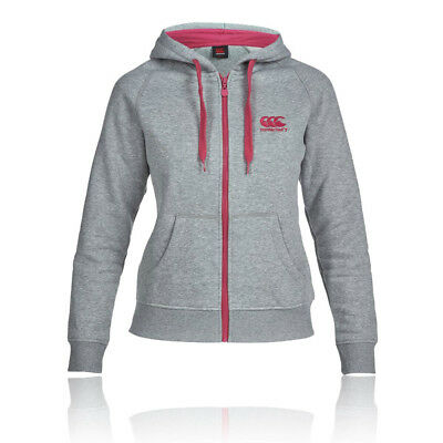 Canterbury Womens Grey Long Sleeve Full Zip Pockets Warm Hoody Running Top