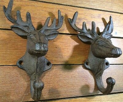 2 DEER COAT HOOKS Cast Iron Rustic Antique Style Wall Hat Rack Hanger