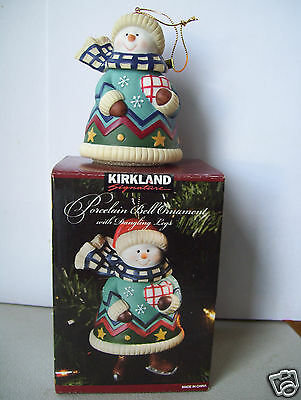 Kirkland Porcelain Snowman Bell Ornament with Dangling legs new in box