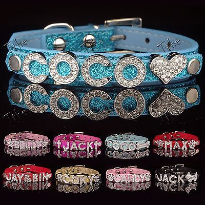 DIY Name Personalized PU Leather Collar Pet Puppy Dog Cat Bling Rhinestone