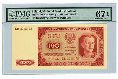 1948 Poland 100 Zlotych Certified banknote PMG67 Superb GEM UNC EPQ Uncirculated