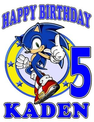 SONIC HEDGEHOG BIRTHDAY Party T-SHIRT Personalized Any Name/Age Toddler Adult