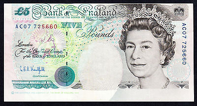 Bank Of England 5 Pounds  £5  Guillotining Error 1990 Crisp VF Note
