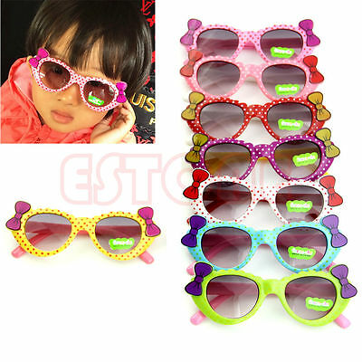 Baby Boys Girls Kids Sunglasses Glass Child Goggles Bow Eyewear UV 400 New