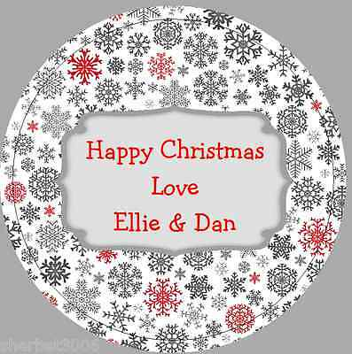 24 x 40mm Personalised Stickers Round Christmas Snowflakes Grey Red Labels