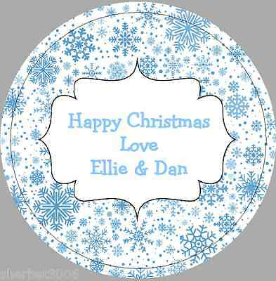 24 x 40mm Personalised Stickers Round Christmas Snowflakes Blue Labels
