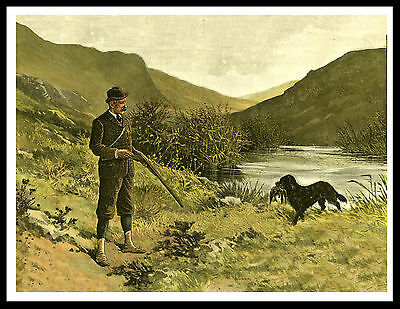 Flat Coated Retriever Shooting Scene Man And Dog Vintage Style Print Poster