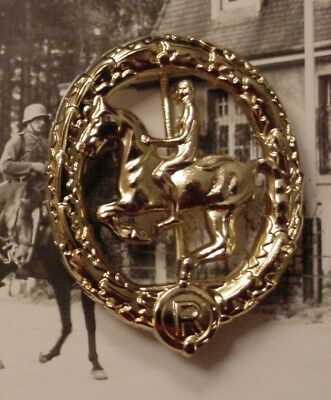 German Wwii Wehrmacht Cavalry - Equestrian / Horsemanship Badge In Gold - Repro