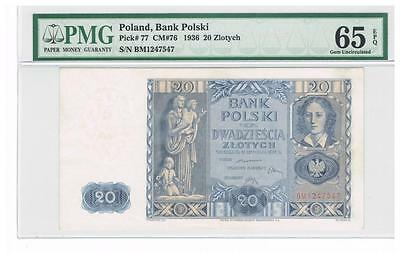 1936 Poland 20 Zlotych Certified banknote PMG 65 GEM UNC EPQ Uncirculated