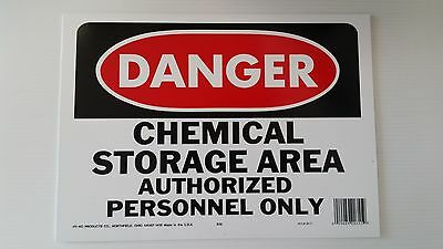 "10""x14"" DANGER CHEMICAL STORAGE AREA AUTHORIZED PERSONNEL ONLY Safety Signs OSHA"
