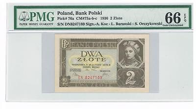 1936 Poland 2 Zlote Certified banknote PMG 66 GEM UNC EPQ Uncirculated
