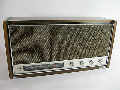 Vintage Brown Wood Montgomery Ward Airline AM/FM Radio Gen-1742A Works
