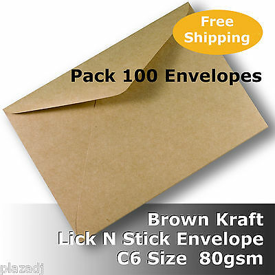 100 x Kraft Brown ReCycled C6 Size Envelopes 80gsm Lick N Stick #S0171 #G1