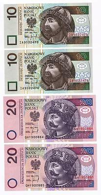 1994 Poland 2 Sets of consecutive 10 & 20 Zlotych UNC Uncirculated banknotes