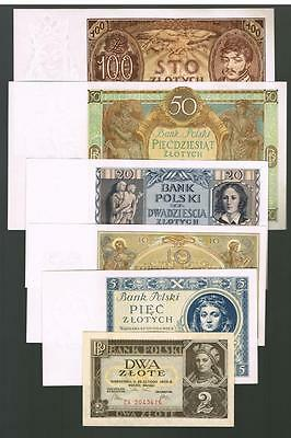 1929 1930 1934 1936 Poland Set of 6 UNC banknotes: 2, 5, 10, 20, 50, 100 Zlotych