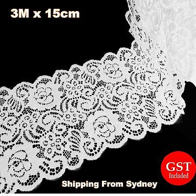 New 3M X 35cm Lace Fabric White Chiffon Trim Craft Polyester Cotten Cloth Flower
