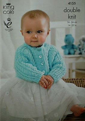 KNITTING PATTERN Baby Round Neck Cable Cardigan DK King Cole 4155
