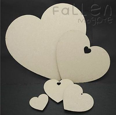 Wooden Heart Shapes Embellishments Craft MDF Wood Hole Tags Blanks