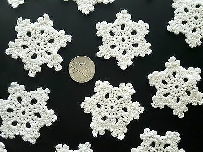"Set of 12 Crocheted Handmade Snowflake size 2"" Christmas tree ornament"