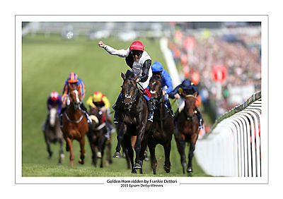 Golden Horn Frankie Dettori 2015 Horse Racing A4 Print Photo Epsom Derby