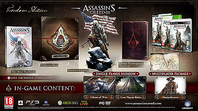 Assassins Creed 3 Freedom Edition, inkl. Connor Figur, XBOX360, Uncut, NEU & OVP