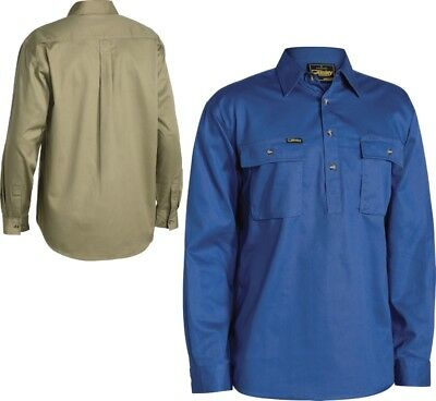 Bisley Shirt Workwear Closed Front Cotton Drill Shirt - Long Sleeve (Bsc6433)